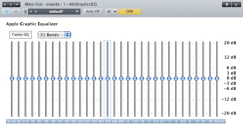 FIG. 3: This simple 31-band graphic EQ is an Audio Units plug-in from Apple, inserted in the main bus of PreSonus Studio One. Here, it's set flat—that is, no frequencies are being boosted or cut.
