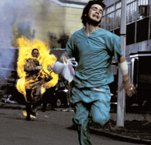 Check out the visceral fuel station explosion in modern classic 28 Days Later (that leads to this scene with flaming zombies!) for an expert example of audio-enhanced violence. Not to mention the excellently done noises of the zombies themselves…